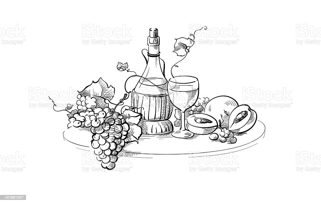Wine bottle and glass still life royalty-free stock vector art