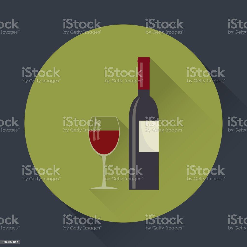 Wine bottle and  glass. vector art illustration