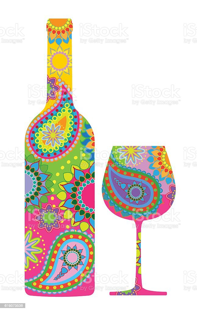 Wine bottle and glass vector art illustration