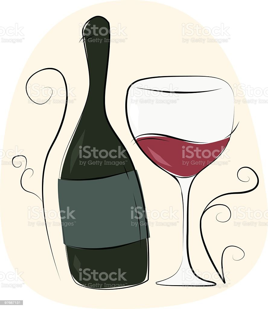 Wine bottle and glass royalty-free stock vector art