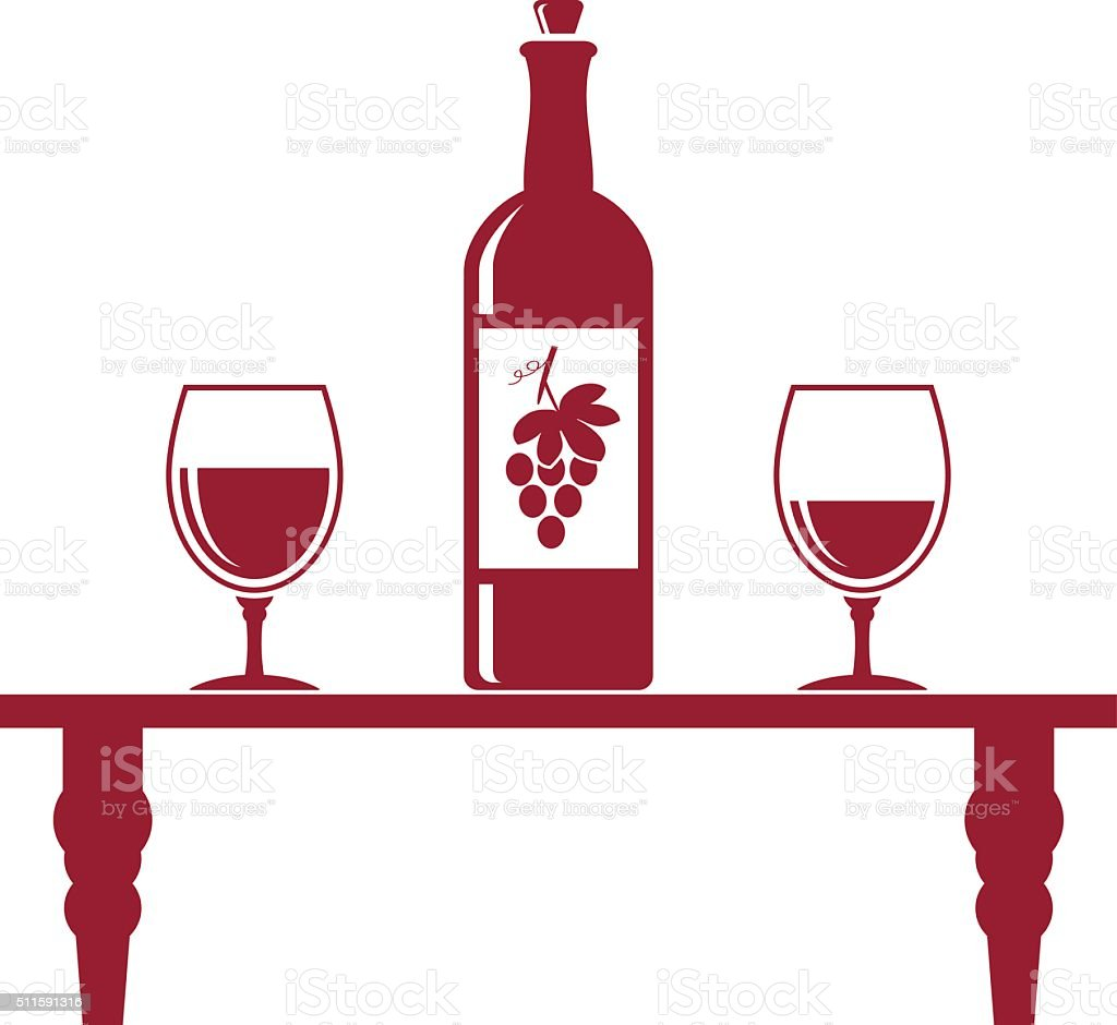 Wine bottle and two glasses icon vector art illustration