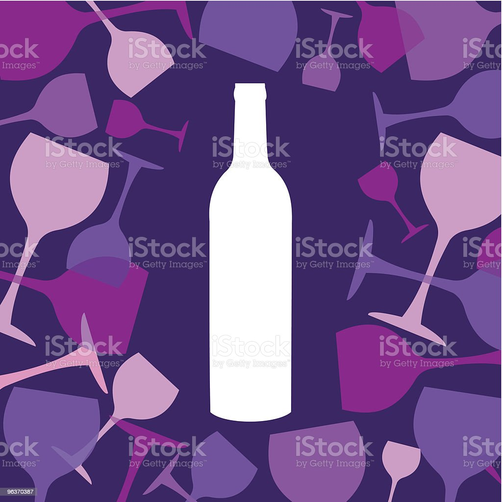 Wine bottle and wineglasses background royalty-free stock vector art