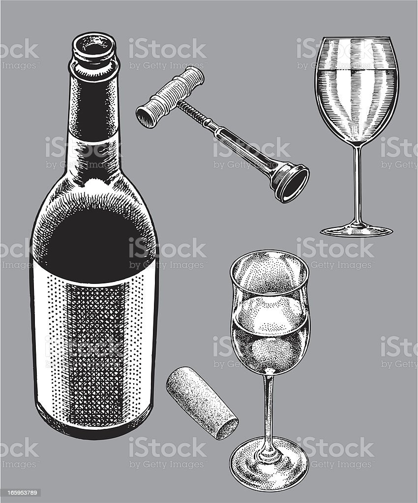 Wine Bottle and Wineglasses vector art illustration