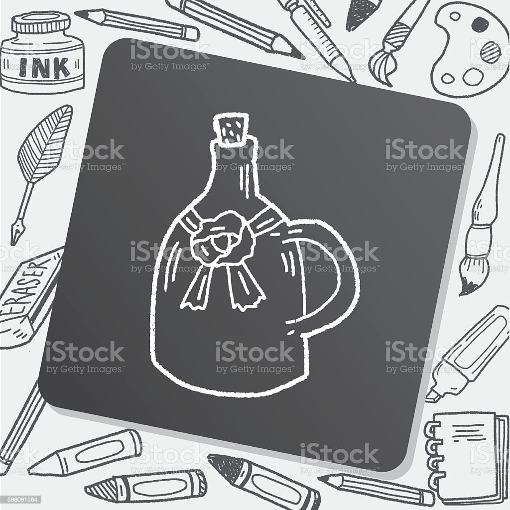 wine bottle doodle vector art illustration