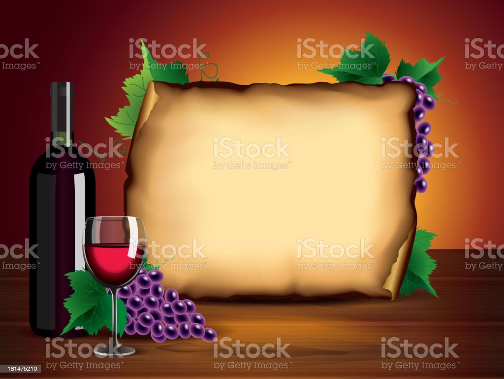 Wine bottle, glass, grapes and blank paper royalty-free stock vector art