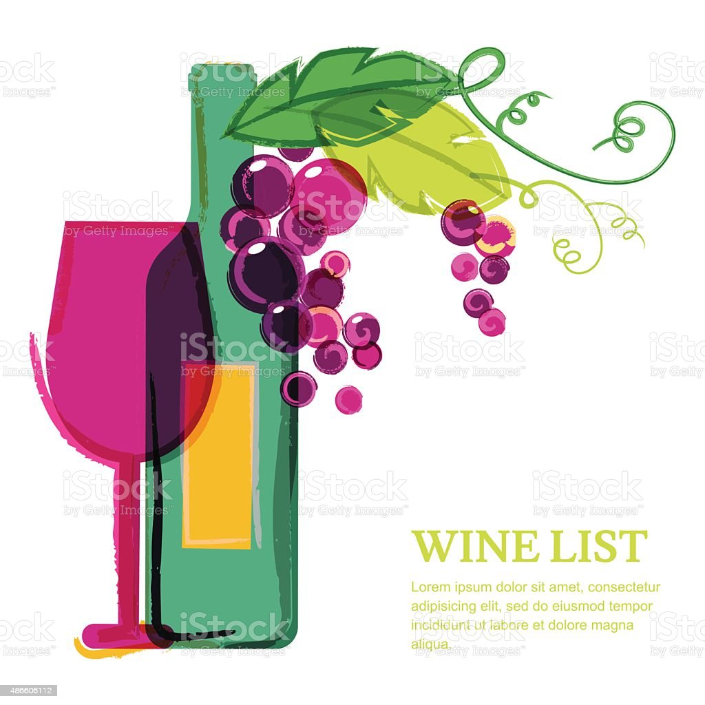 Wine bottle, glass, pink grape vine, watercolor illustration. vector art illustration