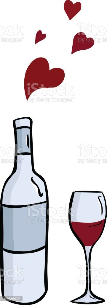wine bottle & glass vector art illustration