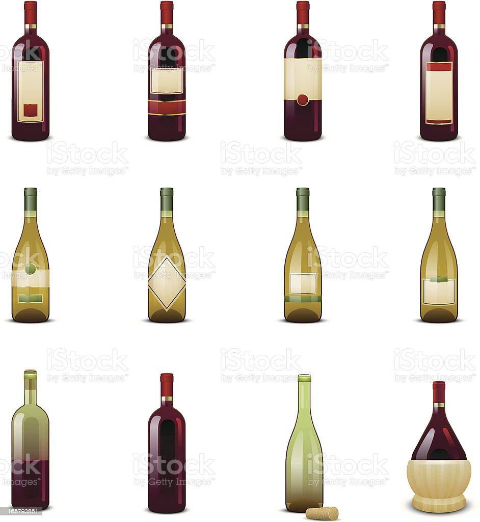 Wine Bottle Icons vector art illustration