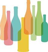 Wine bottle illustration. Vector.