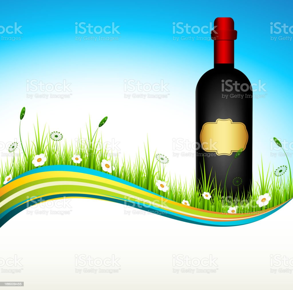 Wine bottle in nature royalty-free stock vector art