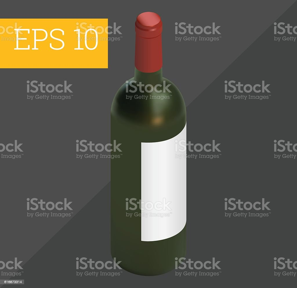 wine bottle isometric vector illustration vector art illustration
