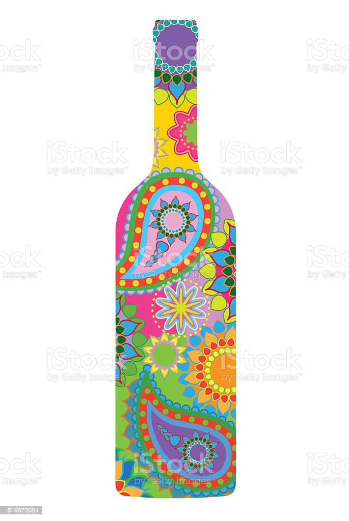 Wine Bottle vector art illustration