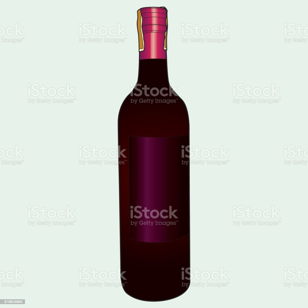 wine bottle vector vector art illustration
