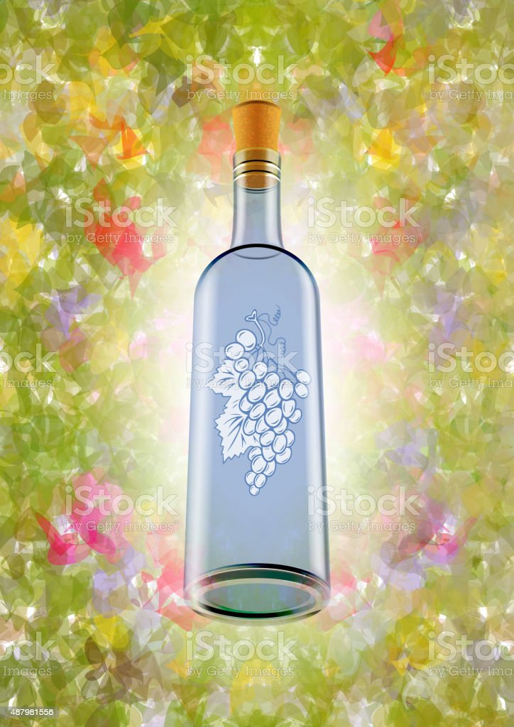 Wine bottle with colorful background vector art illustration