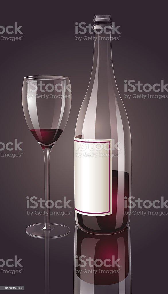 Wine bottle with glass vector art illustration