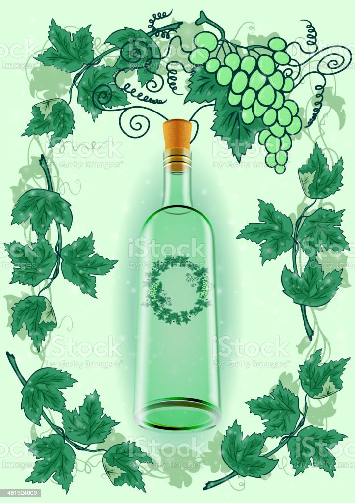 Wine bottle with grape frame vector art illustration