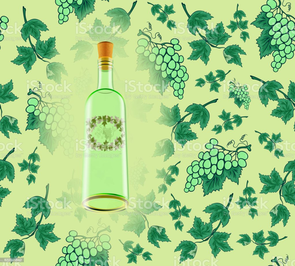 Wine bottle with seamless grape background vector art illustration