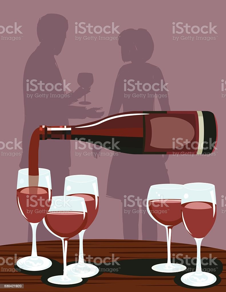 Wine Bottles and Glasses At A Party vector art illustration
