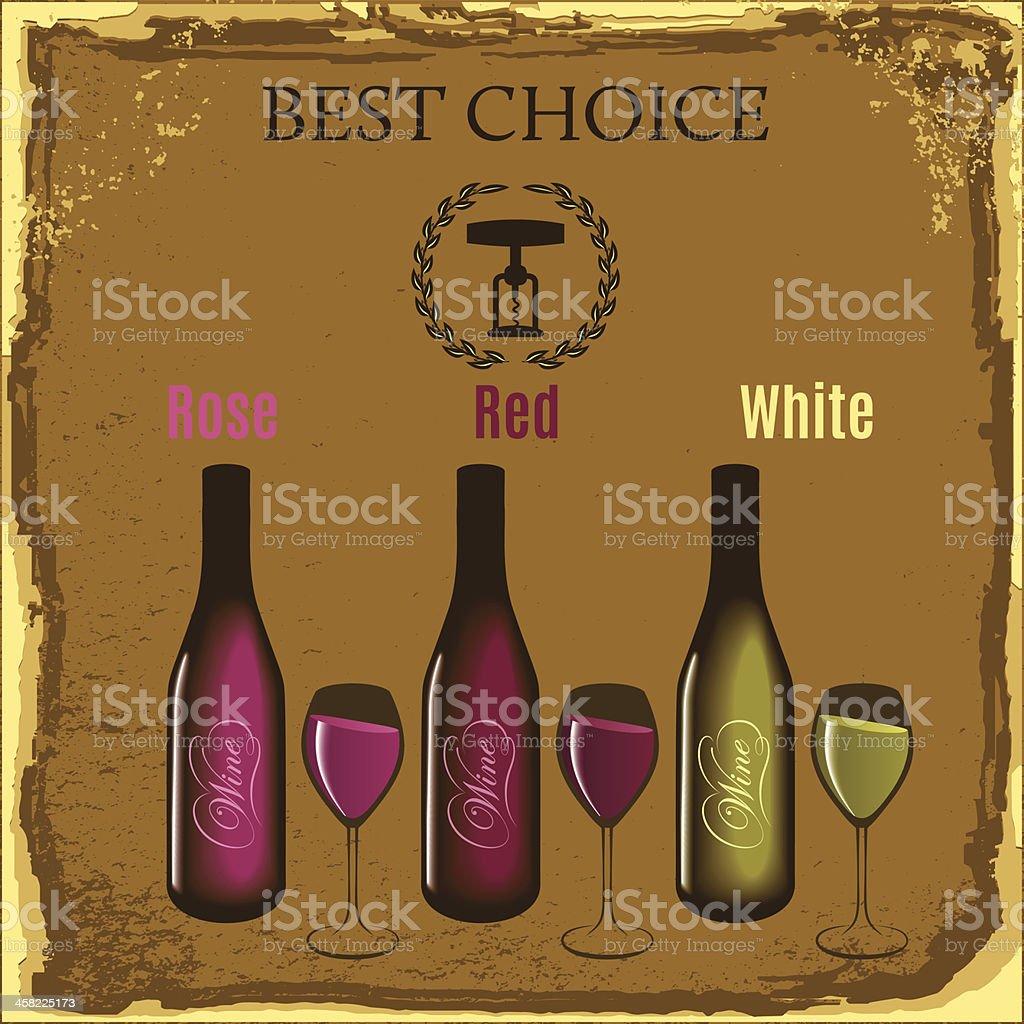 wine bottles and glasses royalty-free stock vector art