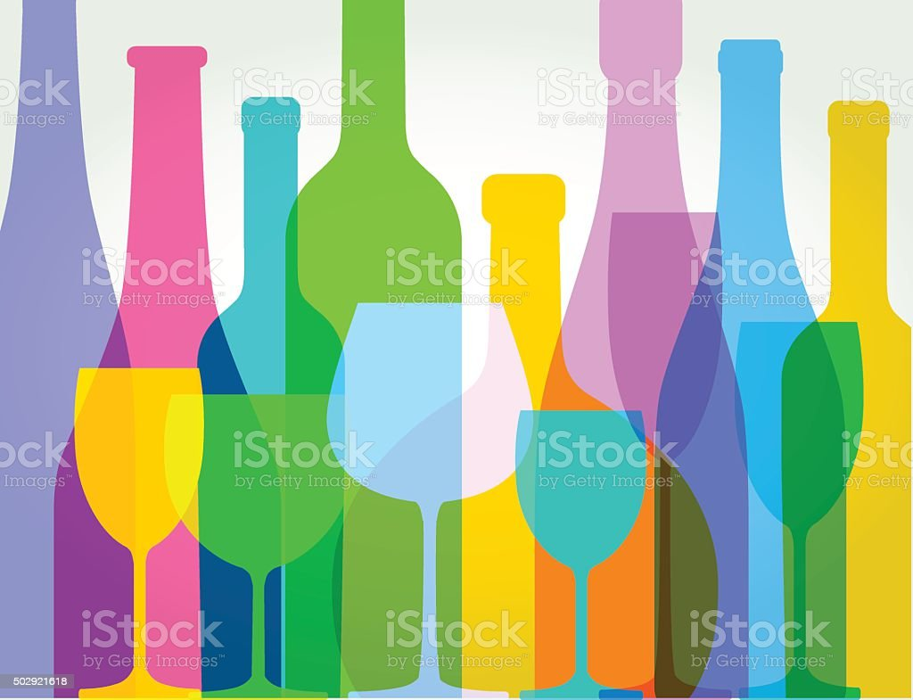 wine bottles and wine glasses vector art illustration