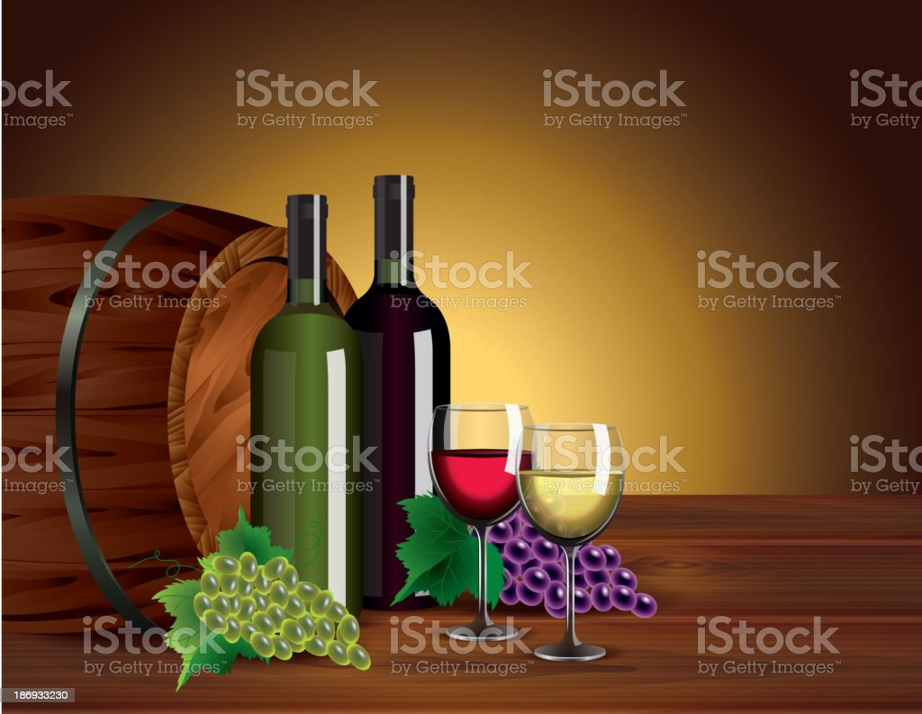 Wine bottles, glasses, grapes and barrel royalty-free stock vector art