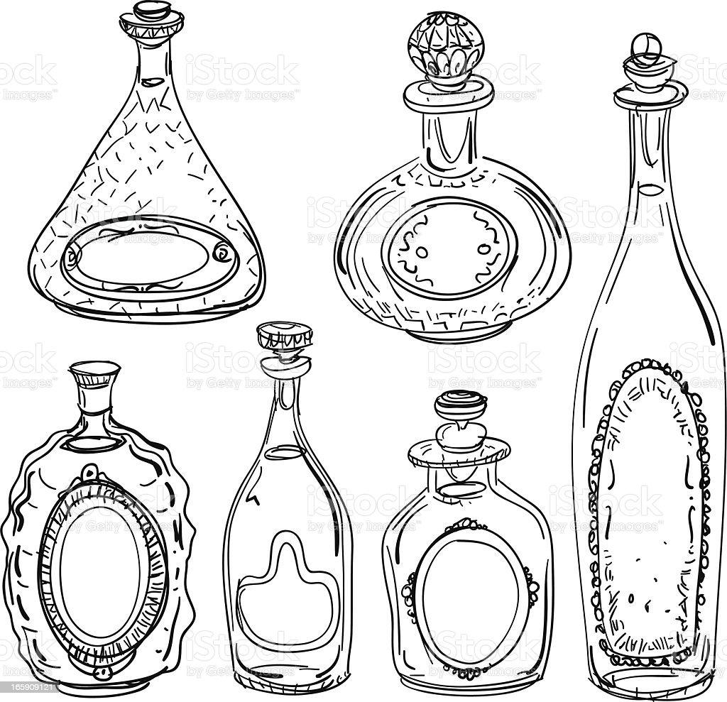 Wine bottles illustration in black and white vector art illustration