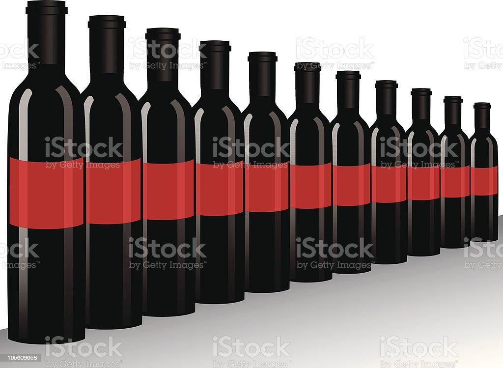 Wein Flaschen in Sicht Lizenzfreies vektor illustration