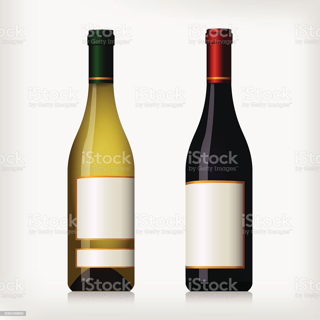 Bouteilles de vin rouge et de vin blanc stock vecteur libres de droits libre de droits