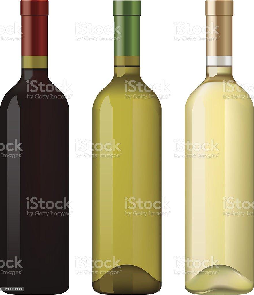 Wine bottles vector art illustration