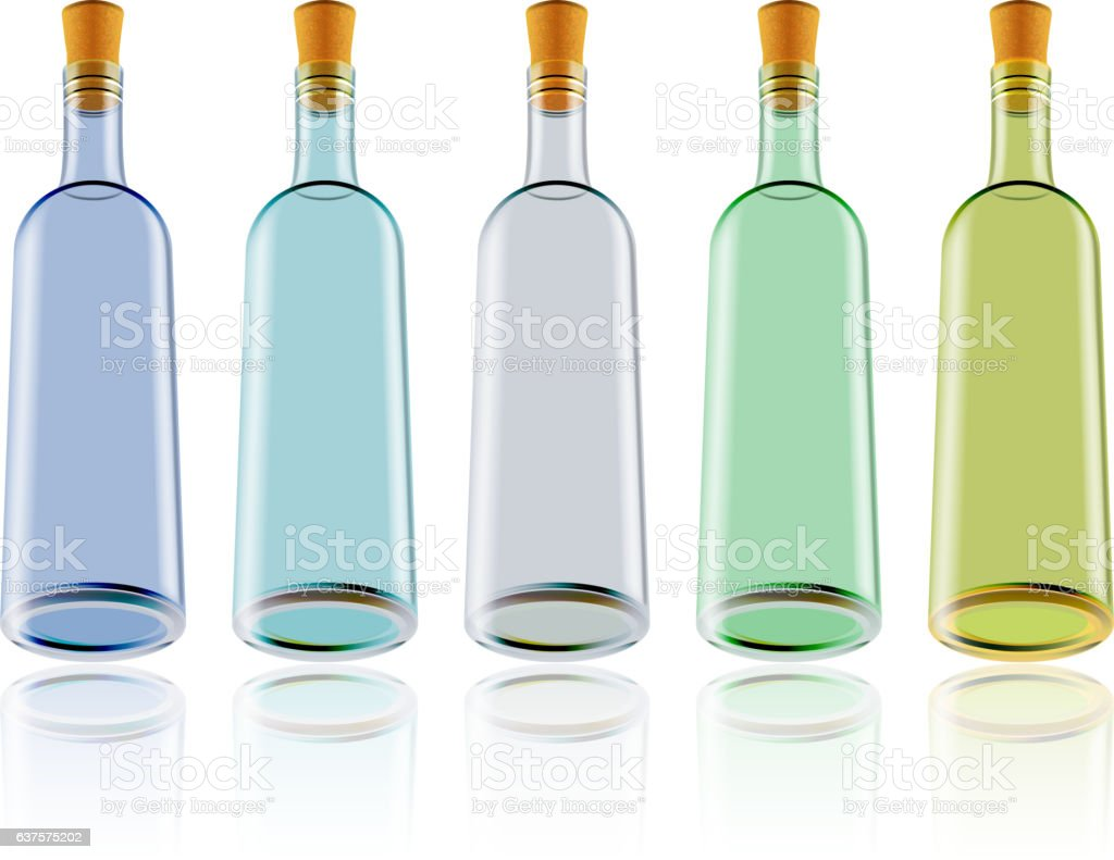 Wine bottles vector art illustration