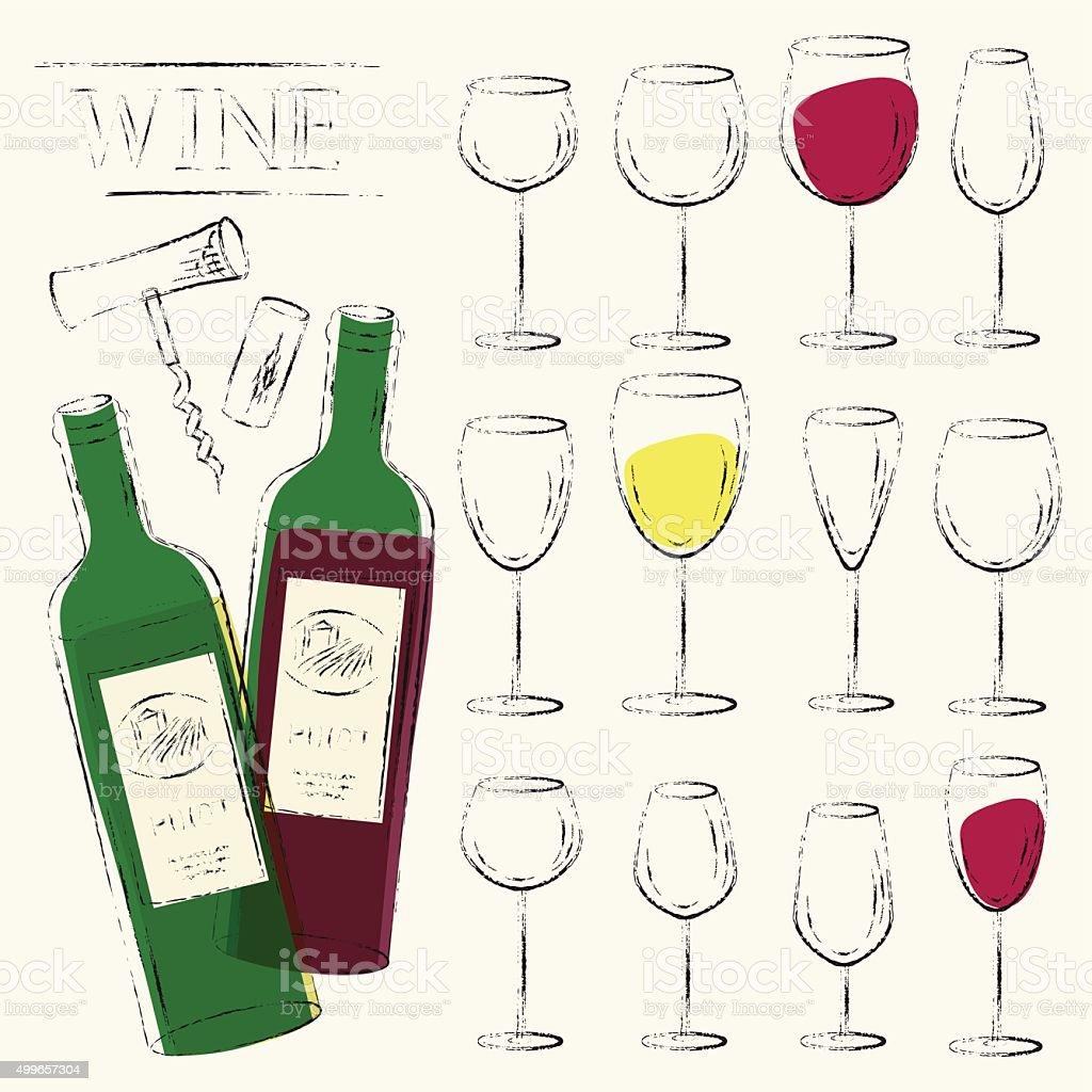 Wine bottles, wine glasses, cork and corkscrew sketch vector art illustration