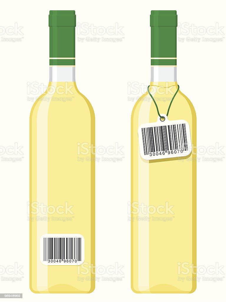 Wine bottles with bar code tag royalty-free stock vector art