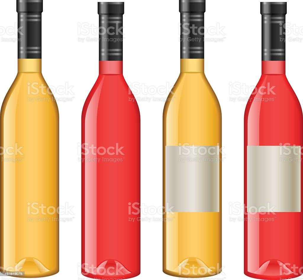 Wine bottles with blank labels vector art illustration