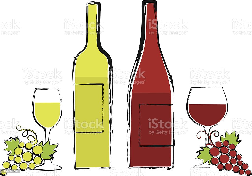 wine bottles with glasses and grapes vector art illustration