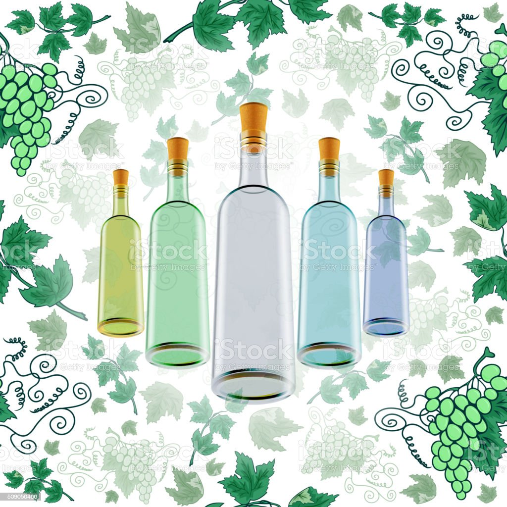 Wine bottles with grape background vector art illustration