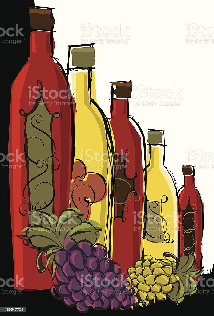 Wine bottles with grapes royalty-free stock vector art