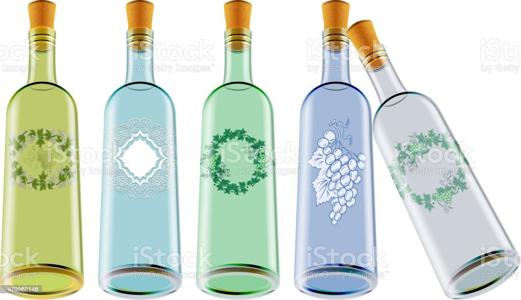 Wine bottles with labels vector art illustration