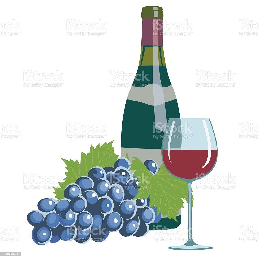 wine bottle,wine glass and grapes vector art illustration