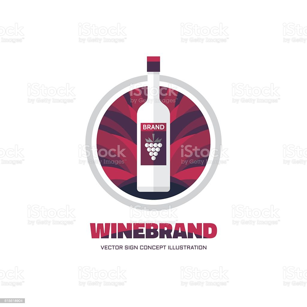 Wine brand vector sign concept illustration in flat style design stock photo