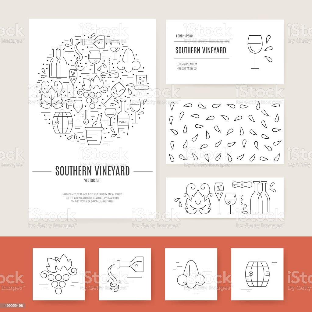 Wine Business Identity vector art illustration