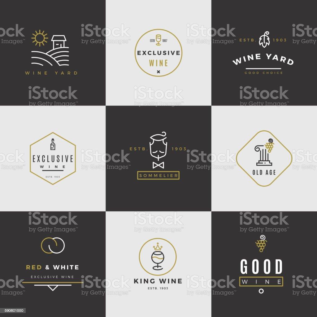 Wine card vector logo set vector art illustration