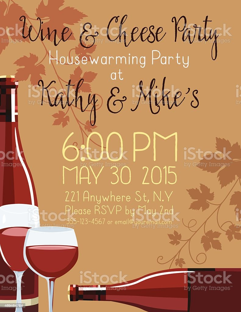 Wine & Cheese Housewarming Party Invitation Template vector art illustration