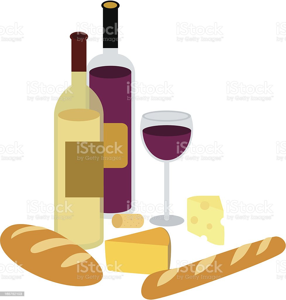 Wine & Cheese vector art illustration