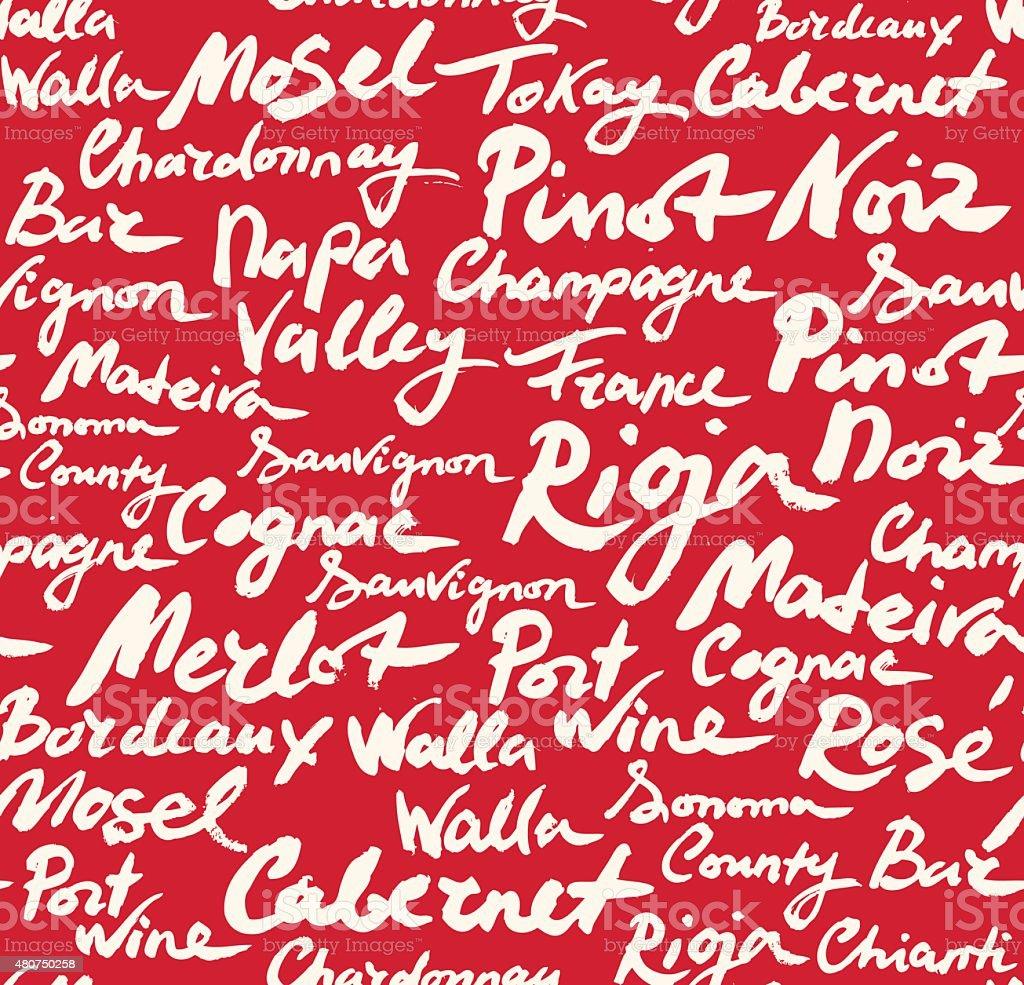 Wine Classification Calligraphic Seamless Pattern. vector art illustration