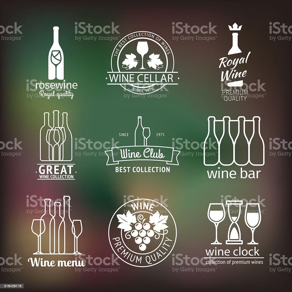 Wine club and restaurant labels set vector art illustration