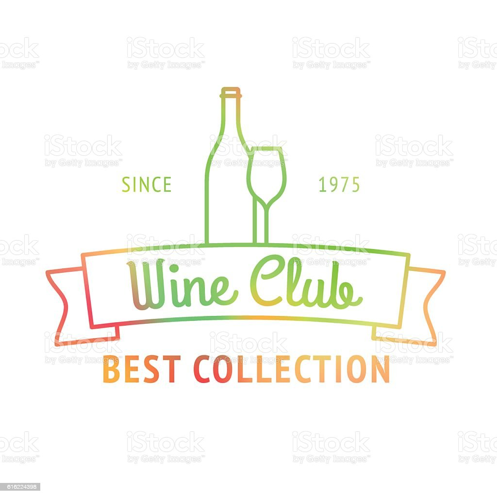 Wine club best collection colorful logo vector art illustration