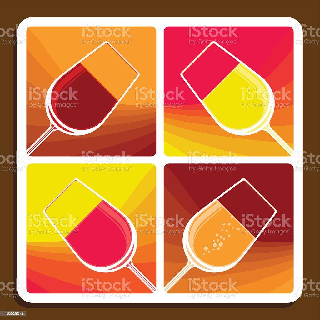 Wine collage showing different varieties vector art illustration