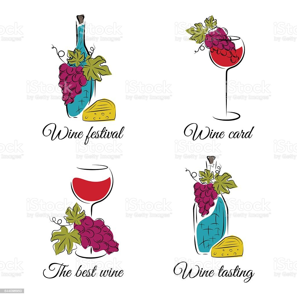 Wine concept  illustrations. Vector set in hand drawn style. vector art illustration