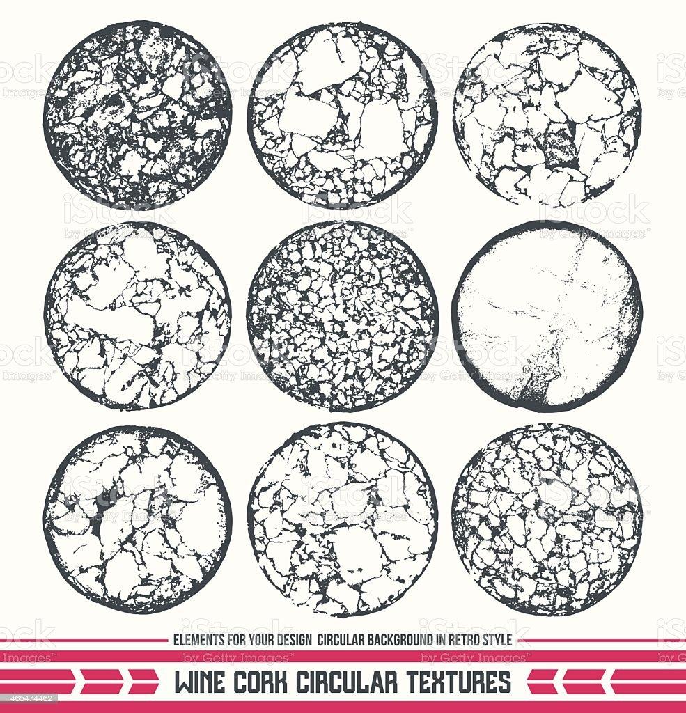 Wine cork circular textures vector art illustration