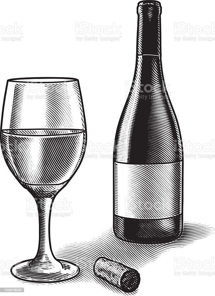 Wine Glass and Bottle vector art illustration